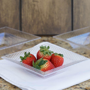 10 Pack 5oz Clear Honeycomb Plastic Square Disposable Bowl