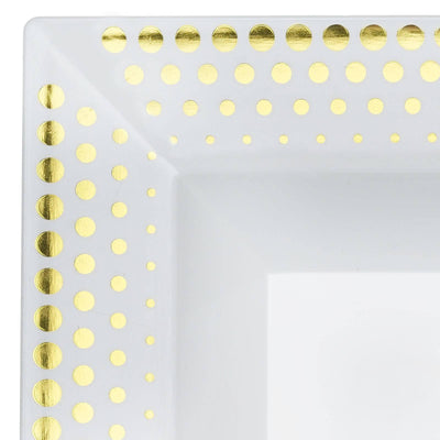 10 Pack - White with Gold 12oz Square Disposable Bowl - Hot Dots Collection