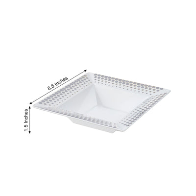 10 Pack 12oz White with Silver Hot Dots Rim Plastic Square Disposable Bowl