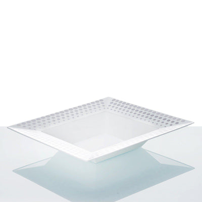 10 Pack - White with Silver 12oz Square Disposable Bowl - Hot Dots Collection