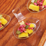"24 Pack - Clear Handled Tantalizing Tear Drop 2.75"" x 1.75"" Disposable Dessert Plate"