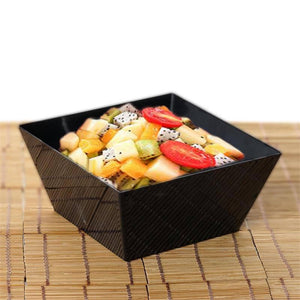 10 Pack 42oz Black Innovative Plastic Square Disposable Serving Bowl