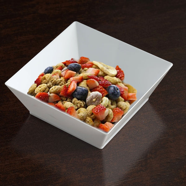 12 Pack 10oz White Innovative Plastic Square Disposable Bowl - Clearance SALE