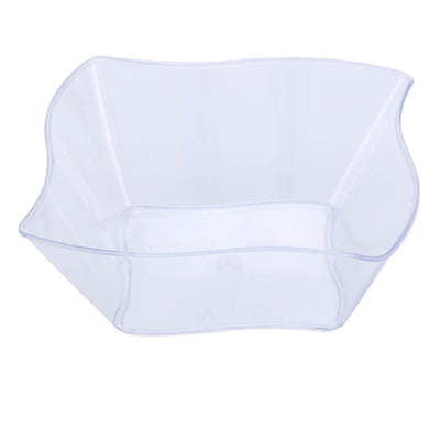 12 Pack 6oz Clear Wave Design Plastic Square Disposable Bowl