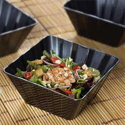 12 Pack 7oz Black Chambury Plastic Square Disposable Bowl