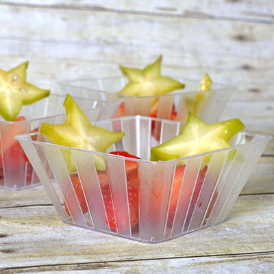 12 Pack | 7 Oz Clear Square Disposable Bowls | Mini Dessert Plastic Bowls