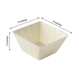 12 Pack | 7 Oz Ivory Square Disposable Bowls | Mini Dessert Plastic Bowls