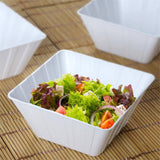12 Pack White 7oz Plastic Flared Square Disposable Bowl