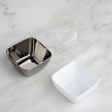 18 Pack 2oz Silver Mini Chambury Plastic Square Disposable Bowl