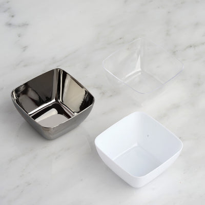 18 Pack 2oz White Mini Chambury Plastic Square Disposable Bowl