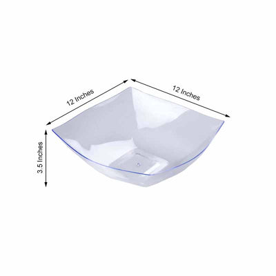 4 Pack 4qt Clear Chambury Plastic Square Disposable Serving Bowl
