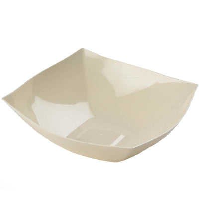4 Pack Ivory 4qt Chambury Plastic Square Disposable Serving Bowl