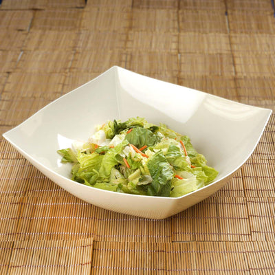 4 Pack 4qt Ivory Chambury Plastic Square Disposable Serving Bowl