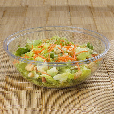 4 Pack | Clear Round Disposable Serving Bowls | 4 Qt Large Plastic Salad Bowls