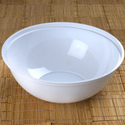 4 Pack | White Round Disposable Serving Bowls | 4 Qt Large Plastic Salad Bowls