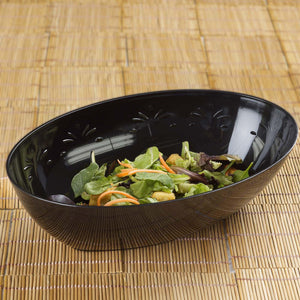 4 Pack 2qt Black Chambury Plastic Oval Disposable Serving Bowl