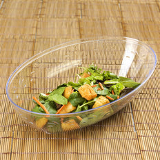 4 Pack | Clear Oval Disposable Serving Bowls | 2 Qt Large Plastic Salad Bowls