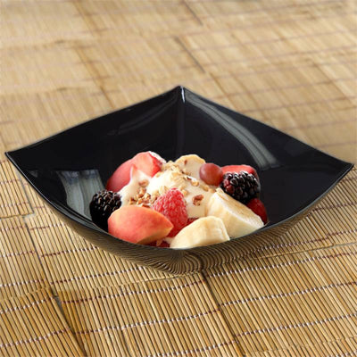 4 Pack 32oz Black Chambury Plastic Square Disposable Serving Bowl