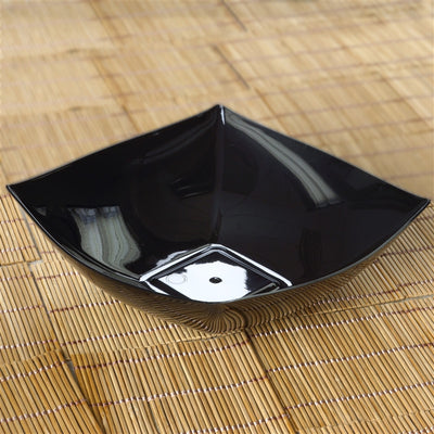 4 Pack | Black Square Disposable Serving Bowls | 32 Oz Plastic Salad Bowls
