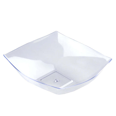 4 Pack | Clear Square Disposable Serving Bowls | 32 Oz Plastic Salad Bowls