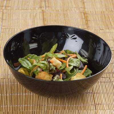 4 Pack Black 32oz Chambury Plastic Round Disposable Serving Bowl