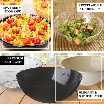 4 Pack | Black Round Disposable Serving Bowls | 32 Oz Plastic Salad Bowls