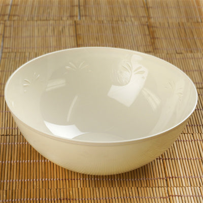4 Pack | Ivory Round Disposable Serving Bowls | 32 Oz Plastic Salad Bowls