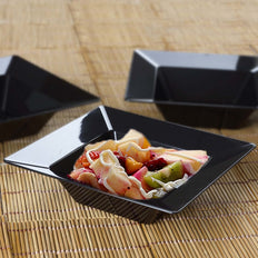 10 Pack 5oz Black Chambury Plastic Square Disposable Bowl