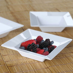 10 Pack 5oz White Chambury Plastic Square Disposable Bowl