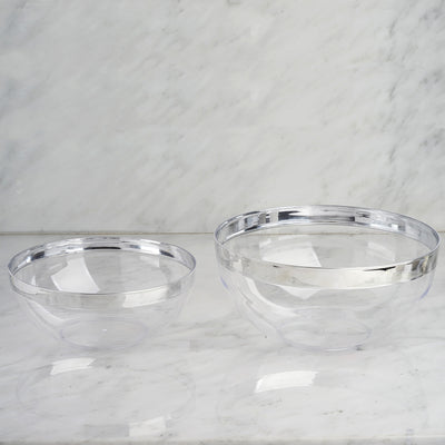 4 Pack 32oz Clear with Silver Rim Plastic Round Disposable Serving Bowl