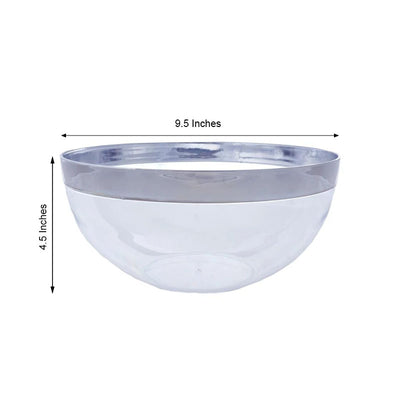 4 Pack 2qt Clear with Silver Rim Plastic Round Disposable Serving Bowl