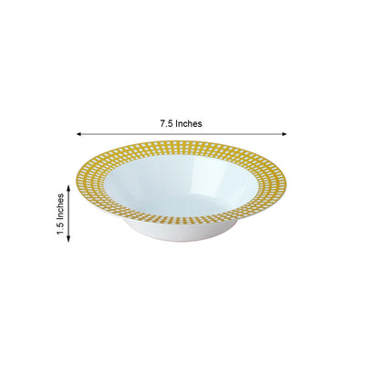 10 Pack 12oz White with Gold Hot Stamped Rim Plastic Round Disposable Bowl