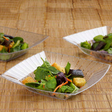 10 Pack | Clear Square Disposable Serving Bowls | 32oz Plastic Salad Bowls - Clearance SALE