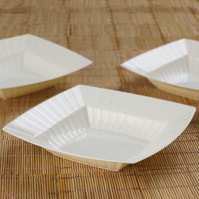 10 Pack Ivory 32oz Chambury Plastic Square Disposable Serving Bowl
