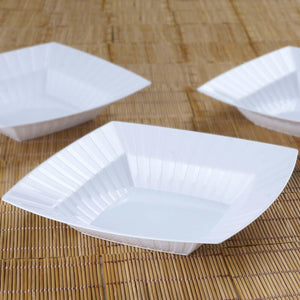 10 Pack - White Square 32oz Disposable Bowls    - Chambury Plastics