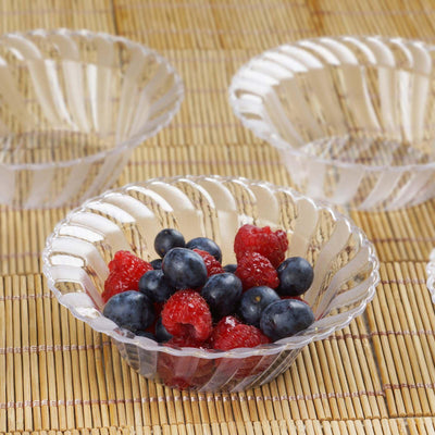12 Pack 5oz Clear Flared Plastic Round Disposable Bowl
