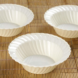 12 Pack 5oz Ivory Flared Plastic Round Disposable Bowl