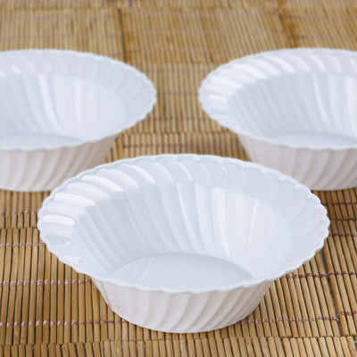 12 Pack 5oz White Flared Plastic Round Disposable Bowl