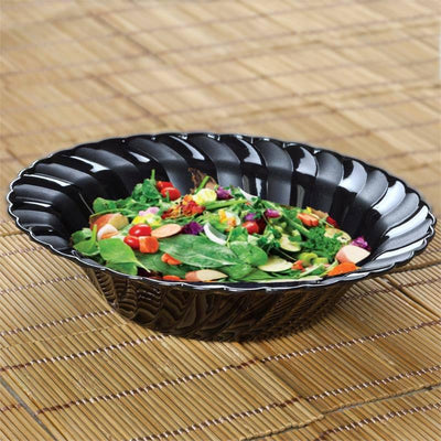 12 Pack | Black Flared Round Disposable Bowls | 16 oz Plastic Soup Bowls - Clearance SALE