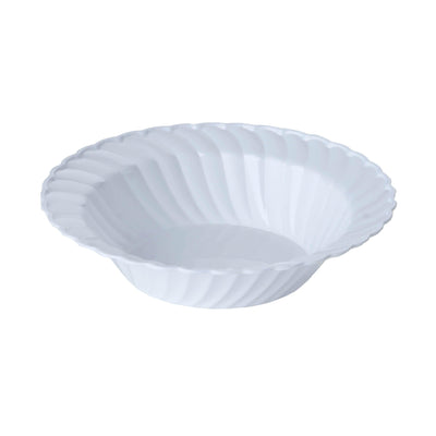 12 Pack 16oz White Flared Plastic Round Disposable Bowl