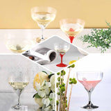 6 Pack Red 5oz Hard Plastic Detachable Disposable Champagne Wine Toast Goblet