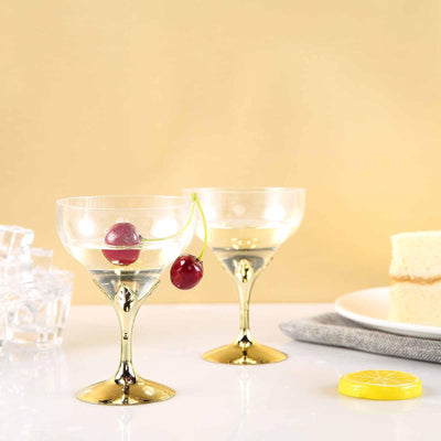 6 Pack 5oz Clear with Gold Base Disposable Champagne Wine Goblet