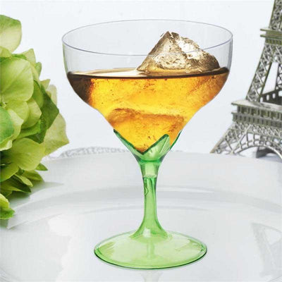 6 Pack 5oz Clear with Green Base Disposable Champagne Wine Goblet