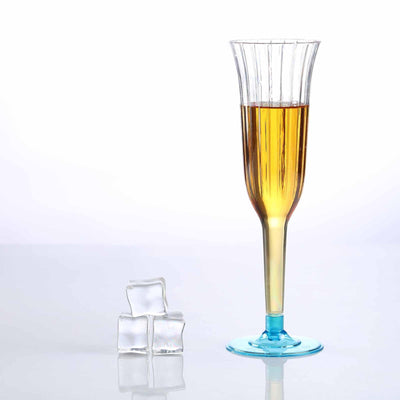 12 Pack 6oz Clear with Blue Base Plastic Disposable Toast Flutes