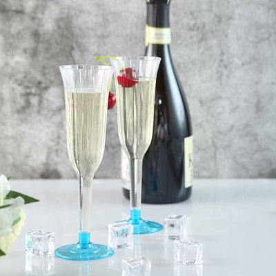 12 Pack | 6 oz | Plastic Champagne Flutes Disposable | Clear | Flared Design | Detachable Blue Base