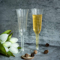 Plastic Champagne Flutes Disposable | 6 oz | 12 Pack | 2-Piece | Silver Glitter Sprinkled | Flared Design | Detachable Base