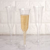 6 oz | Plastic Champagne Flutes | Silver Glitter Sprinkled | Flared Design | Detachable Base