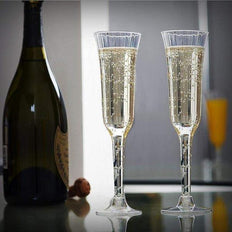 Plastic Champagne Flutes Disposable | 6 oz | 12 Pack | 2-Piece | Clear | Flared Design | Detachable Clear Base