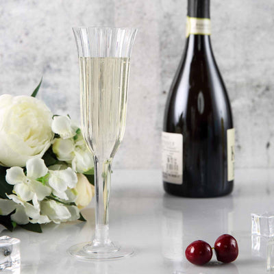 12 Pack 6oz Clear Plastic Disposable Champagne Wine Toast Flutes