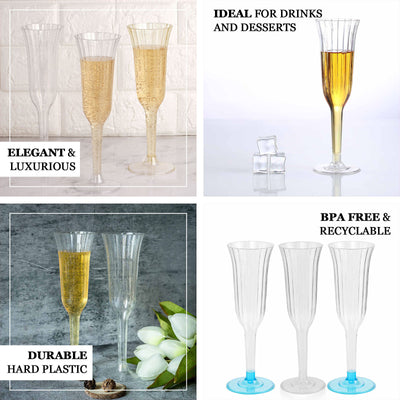 12 Pack | 6 oz | Plastic Champagne Flutes Disposable | Silver Glitter Sprinkled | Flared Design | Detachable Base